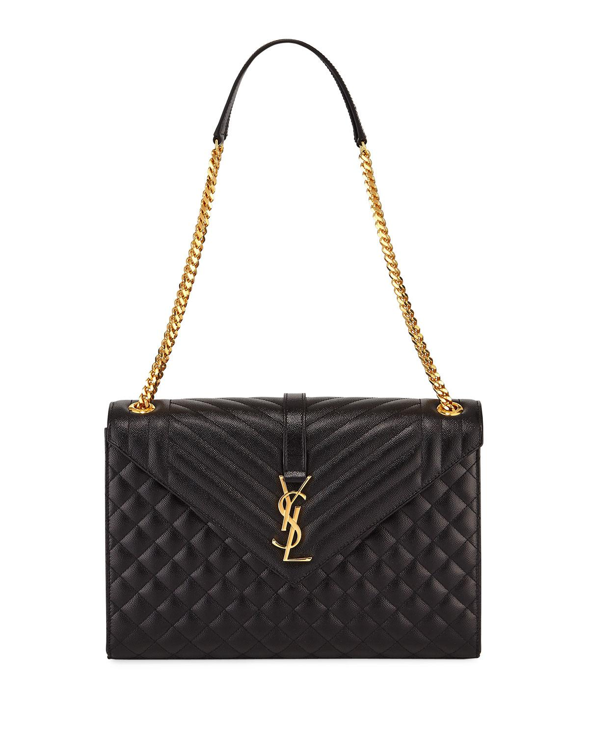 36d33c1653 Saint Laurent Monogram Ysl V-flap Large Tri-quilt Envelope Chain ...