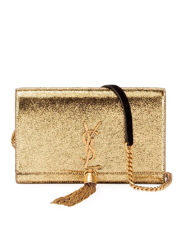 95d7ccdbcdc7 Saint Laurent. Women s Kate Monogram Ysl Small Crackled Metallic Wallet On  Chain - Bronze Hardware