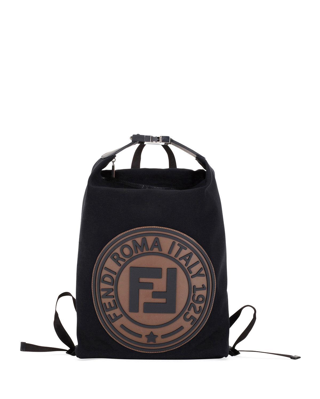 9bc30455d036 Lyst - Fendi Men s Logo-stamped Canvas Backpack in Black