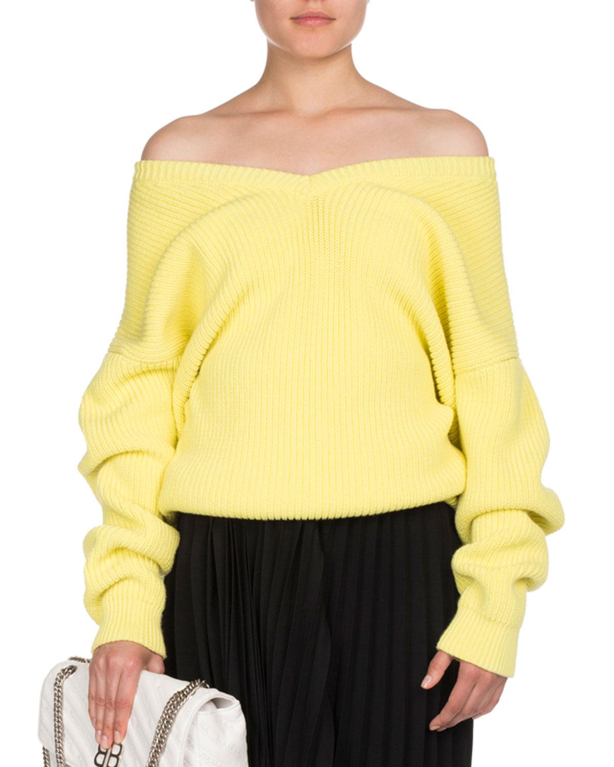 f9a59688bd Lyst - Balenciaga Ribbed Knit Off-shoulder Sweater in Yellow