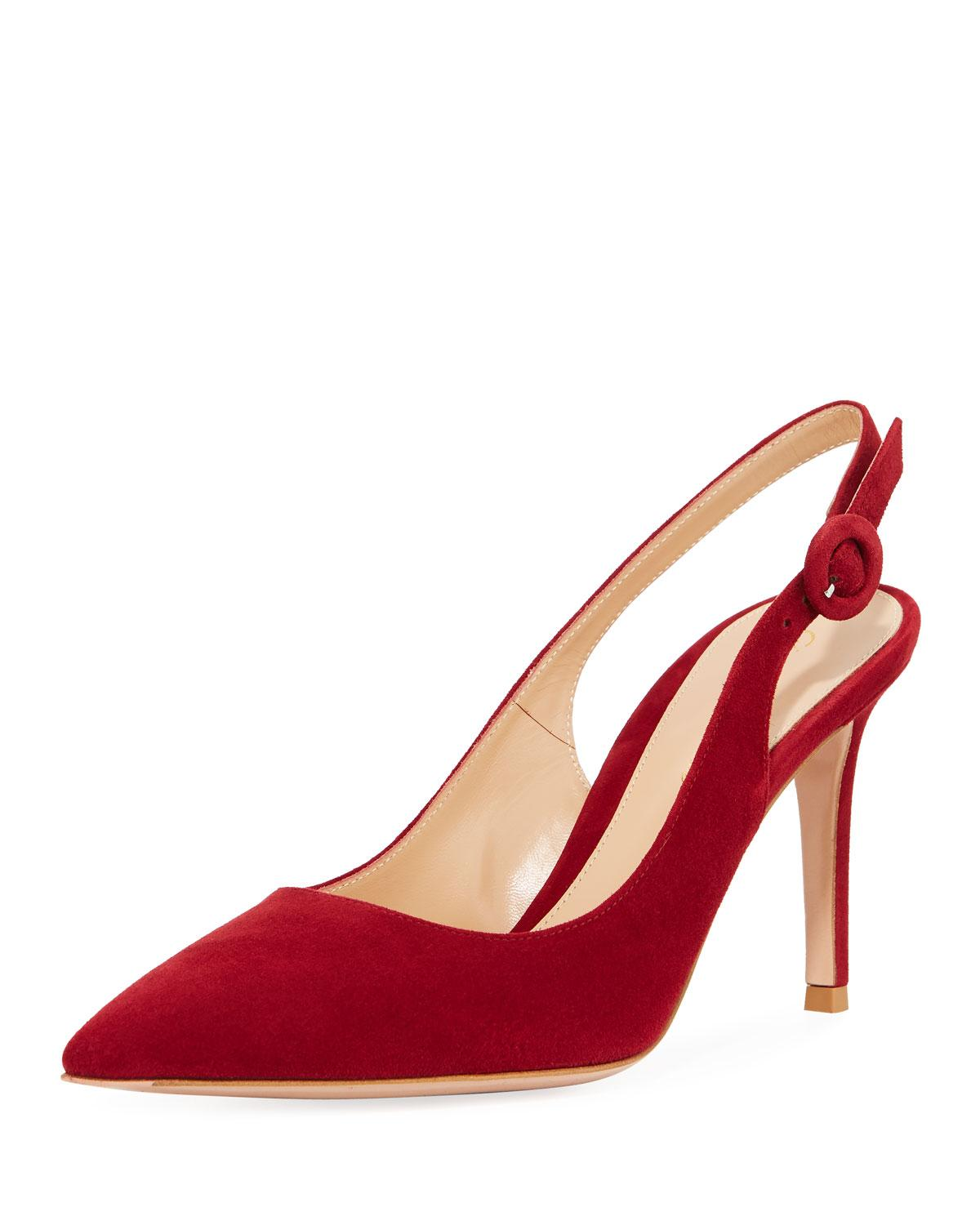 3a12c9ce633 Lyst - Gianvito Rossi Suede Pointed-toe Slingback Pumps in Red