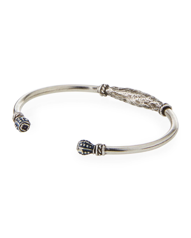 Saint Laurent Mens Twisted Silvertone Wire Kick Cuff Bracelet A4GeM