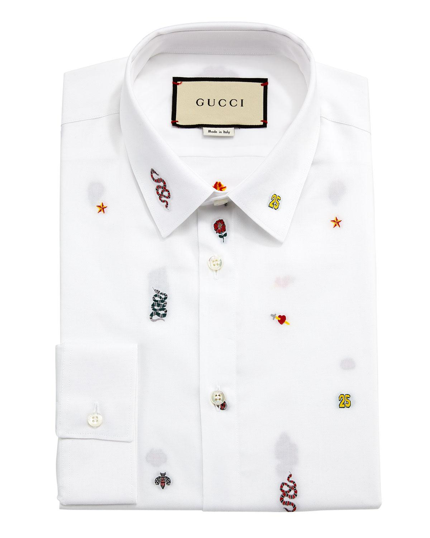Gucci Duke Symbols Fil Coup Oxford Shirt In White For Men Lyst