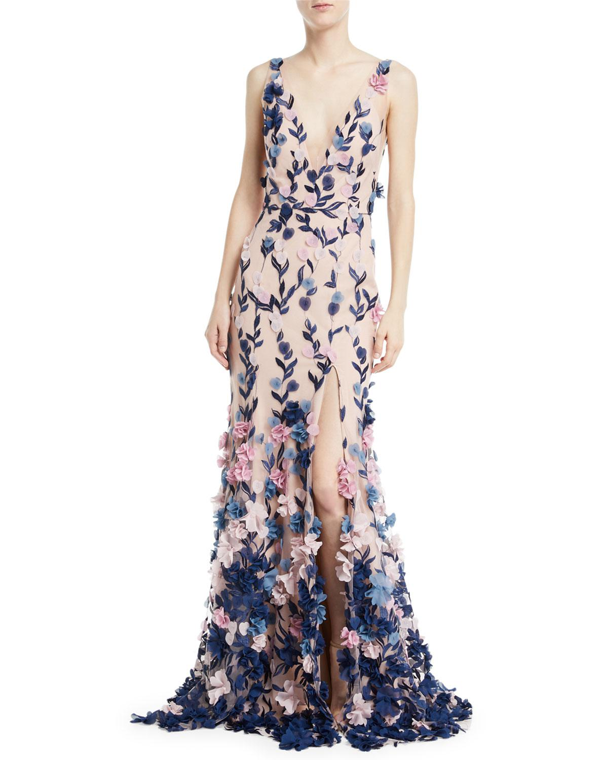 Marchesa Notte Embroidered 3d Chiffon Flower Trumpet Gown in Pink - Lyst