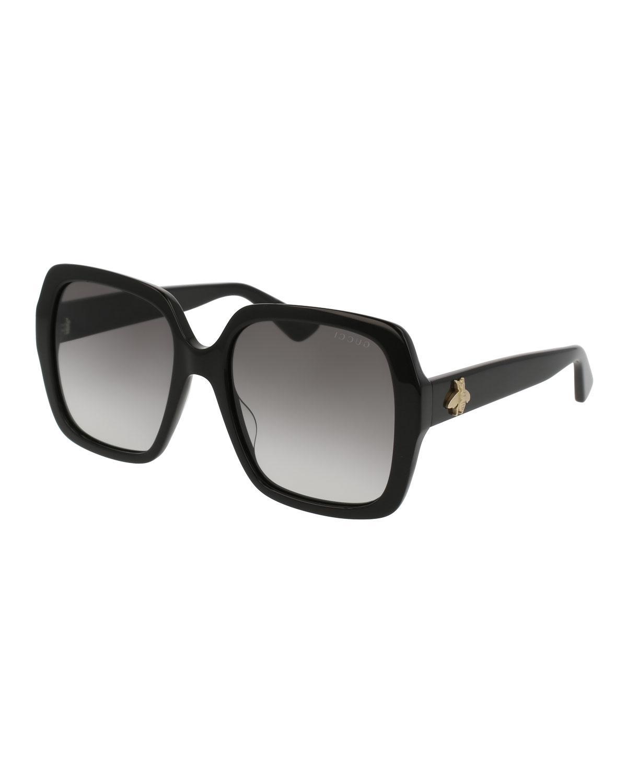 Square Bee \u0026 Logo Acetate Sunglasses