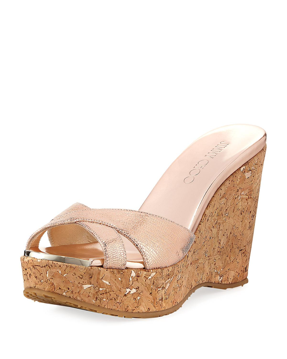 Jimmy Choo Metallic Platform Wedges store cheap price manchester great sale cheap outlet store rtlOt
