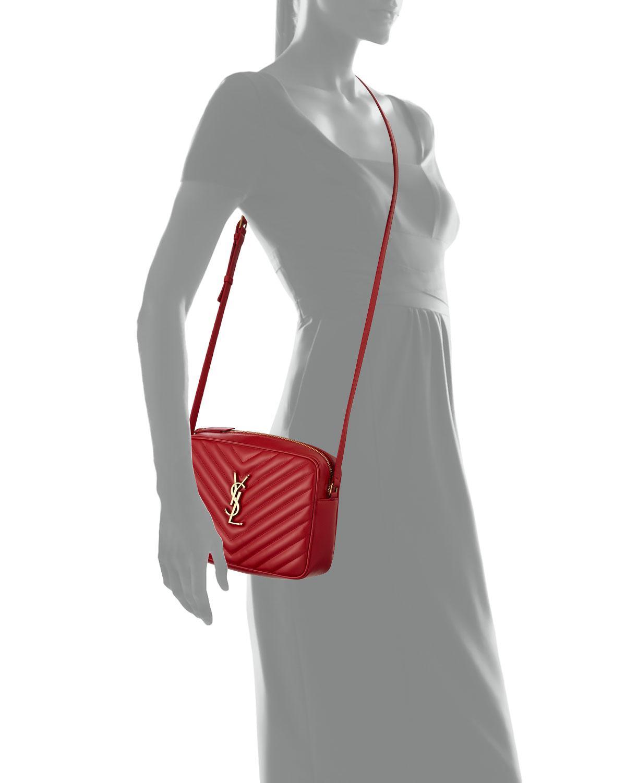 ee0d1952 Saint Laurent Red Loulou Monogram Ysl Medium Chevron Quilted Leather Camera  Shoulder Bag