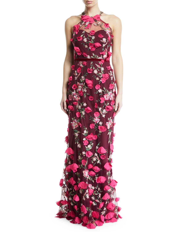 b817998a9f Marchesa notte 3d Chiffon Flower Halter Gown in Red - Lyst