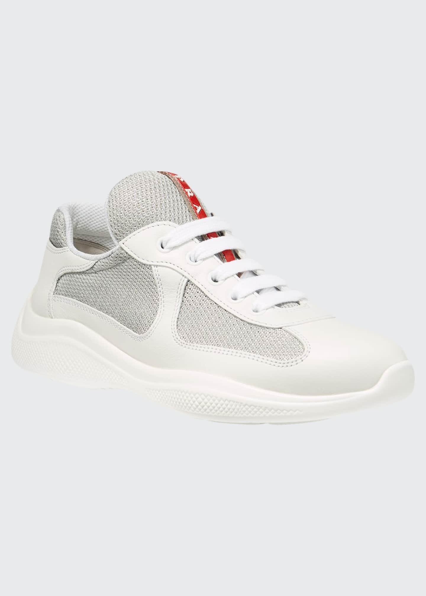 Prada Leather Fabric Sneaker White
