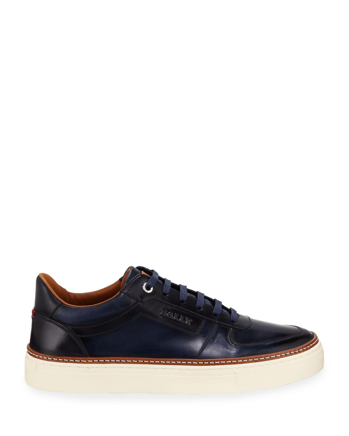 Hens Burnished Leather Sneakers