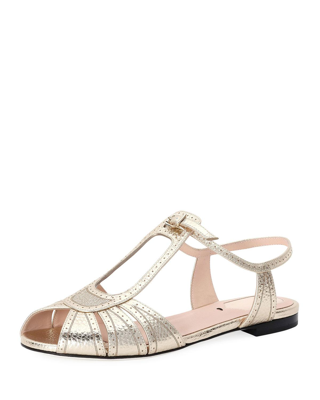 52bce92c Fendi Chameleon Brogue Metallic Flat Sandal