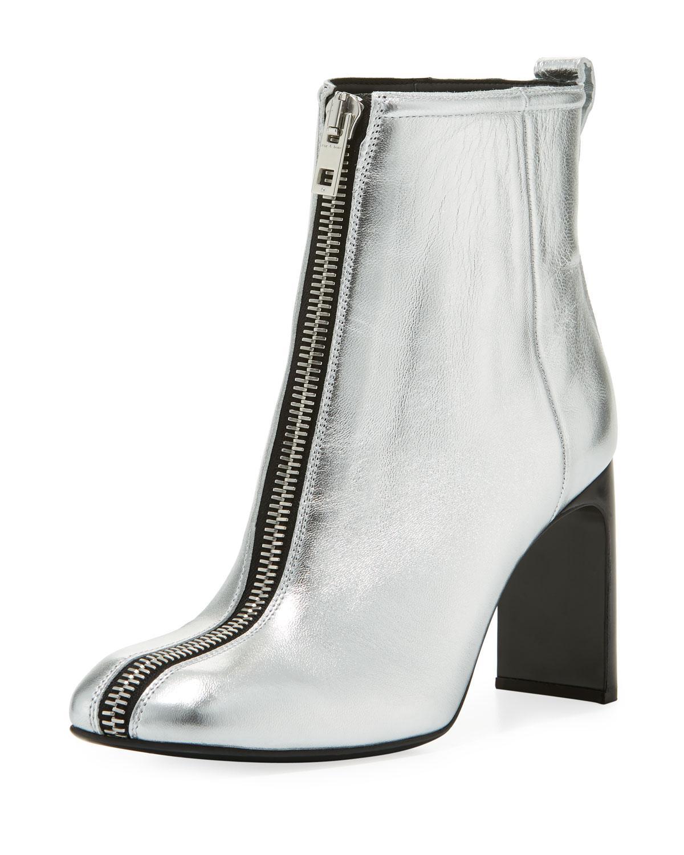 Ellis Zip-front Ankle Boot Silver