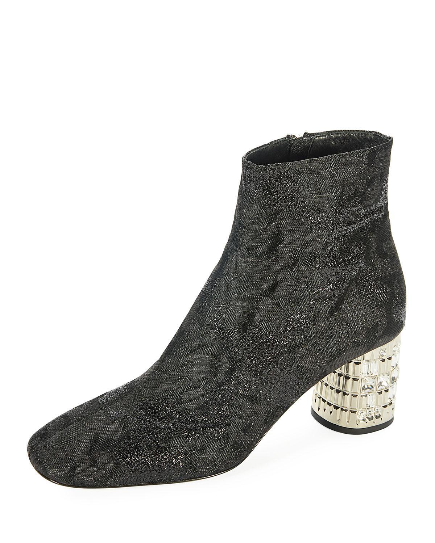 0ae9cb096fc Prada Black Metallic Jacquard Ankle Boot With Jeweled Heel