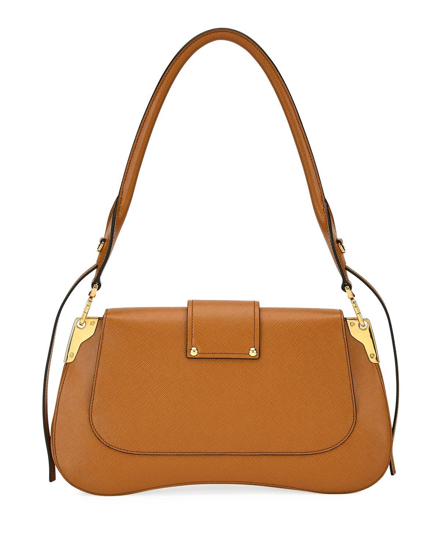 44371454f2b2 Prada Sidonie Saffiano Large Shoulder Bag in Brown - Lyst
