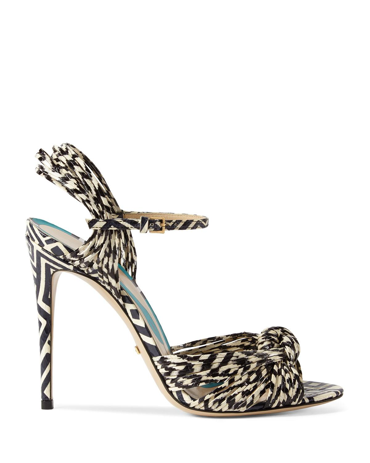 ee25a7950d7 Lyst - Gucci Allie Striped Leather Sandals in Black