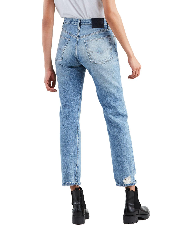ec0dd9b2c7 Lyst - Levi s 501 High-rise Straight-leg Cropped Jeans in Blue