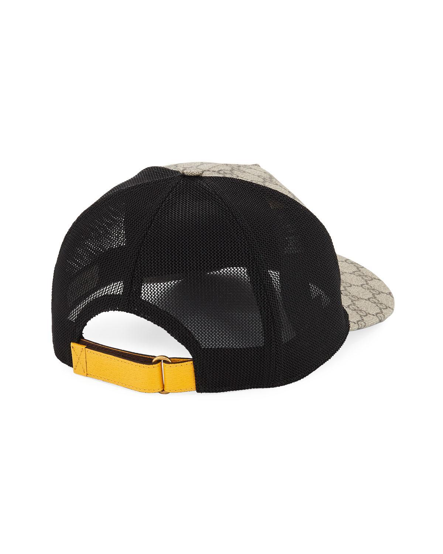 7d4abeefc1e0c Gucci GG Supreme Baseball Cap With Feline Head in Black for Men - Lyst