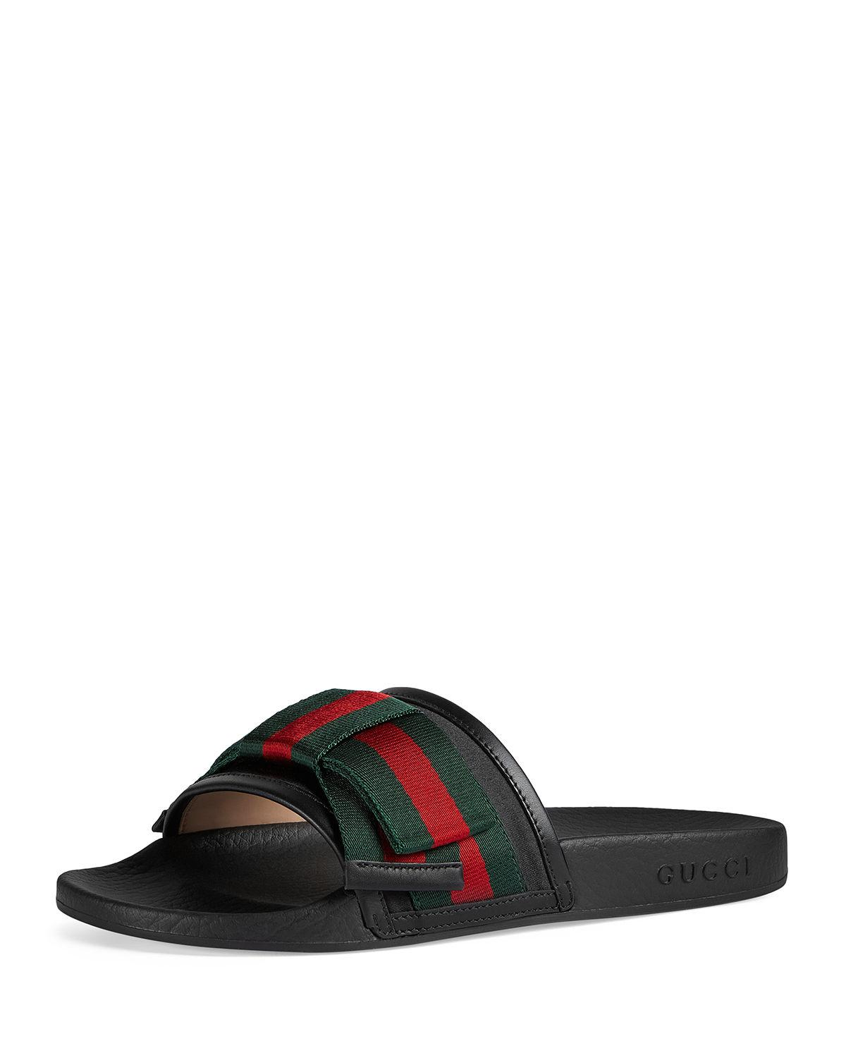 e53839b8e Lyst - Gucci Flat Pursuit Slide With Bow in Black - Save 25%