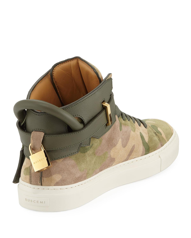 Buscemi Leather Suede Camo High-top