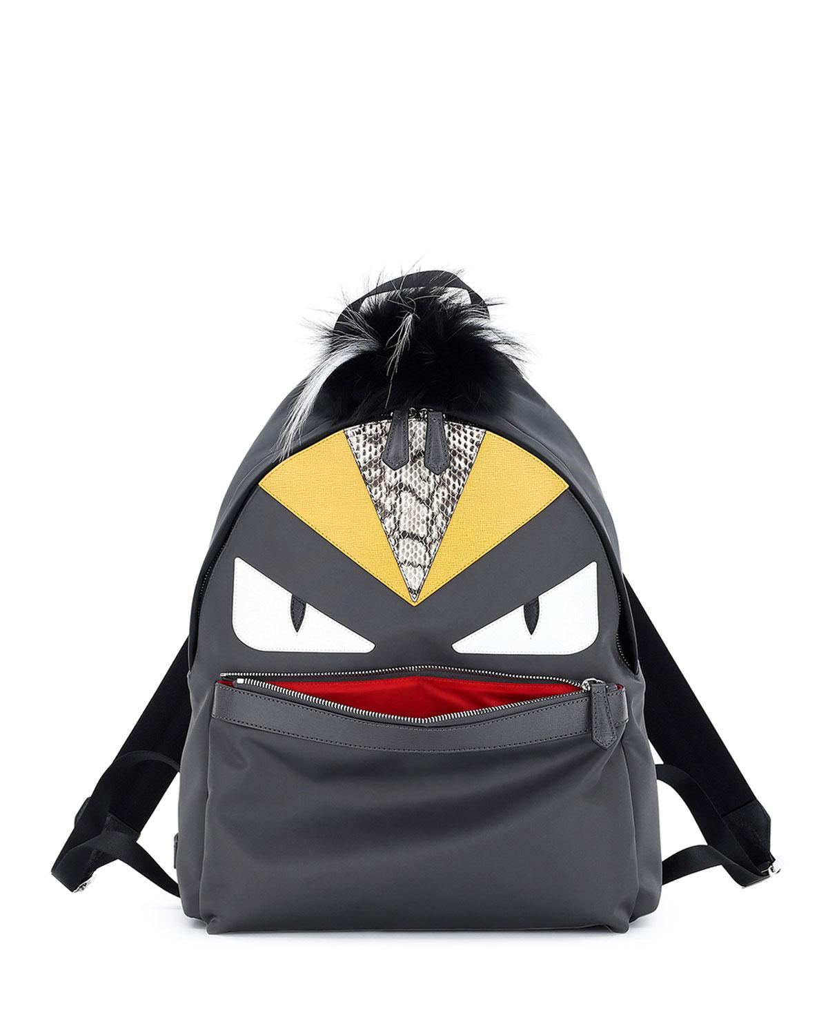 Lyst - Fendi Monster Backpack W watersnake   Fur Details in Gray for Men fc6a364099542