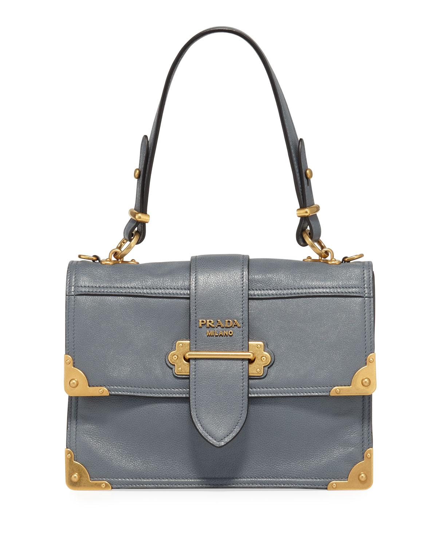 a4b37372d049 Prada Cahier Medium Glace Calf Shoulder Bag in Blue - Lyst