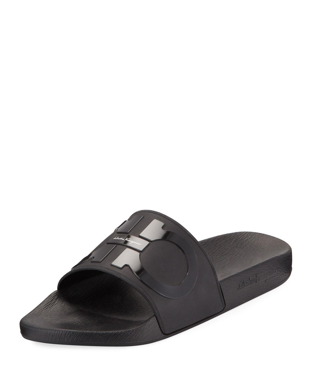 00c3b7981c70 Lyst - Ferragamo Men s Groove 2 Rubber Slide Sandals in Black for Men
