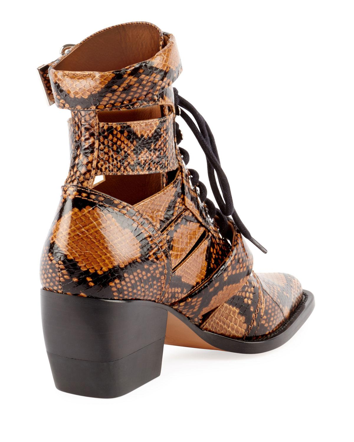 9d29c44d4 Lyst - Chloé Python-embossed Leather Combat Boot in Brown