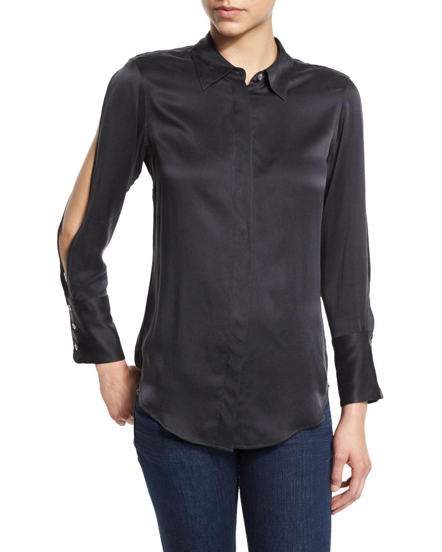 Lyst equipment jonie cutout sleeve silk shirt in black for Equipment black silk shirt