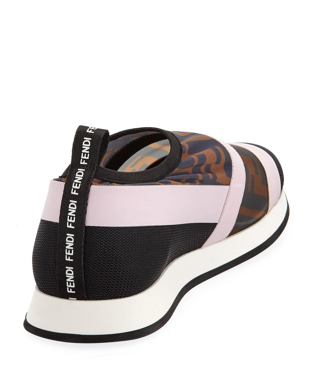 Fendi Leather Colibri Ff Mesh Slip-on