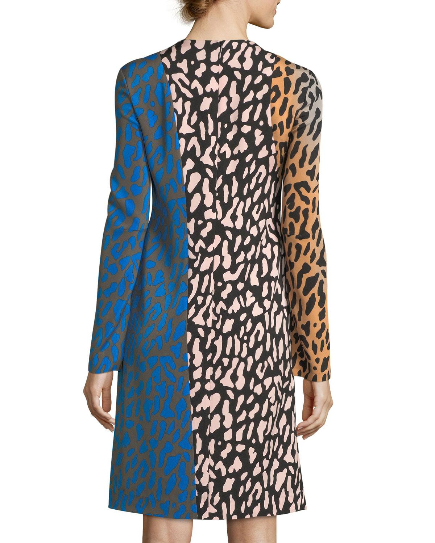 6e6bfcc4b99 Lyst - Diane von Furstenberg Long-sleeve Bias Fitted Silk Dress in Blue
