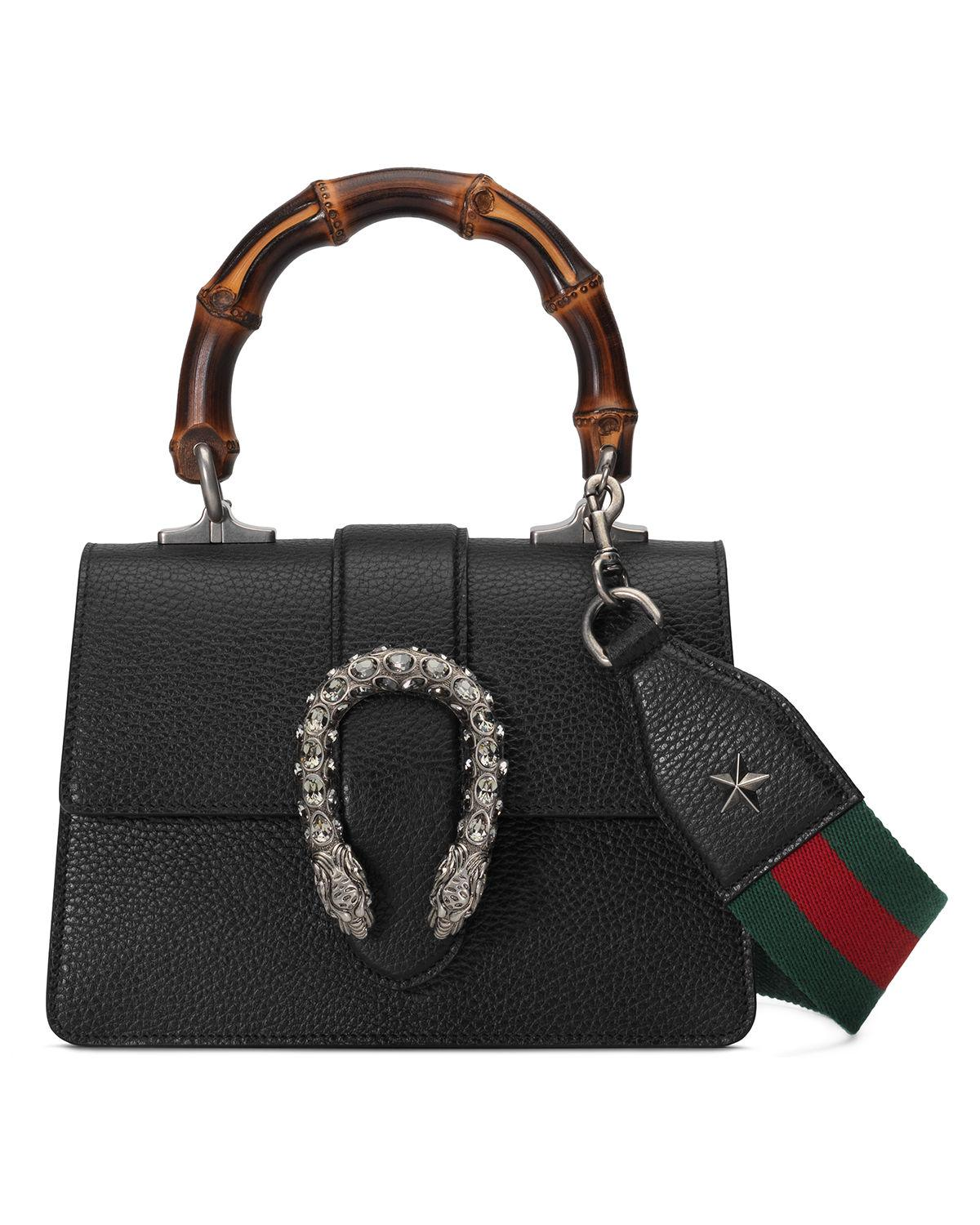 Gucci Dionysus Mini Leather Bamboo-handle Bag in Red - Lyst