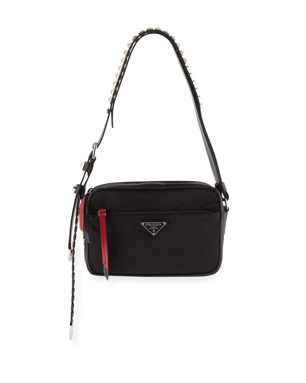 da6aa1d3d0ea Prada - Black Nylon Shoulder Bag With Studding - Lyst. View fullscreen