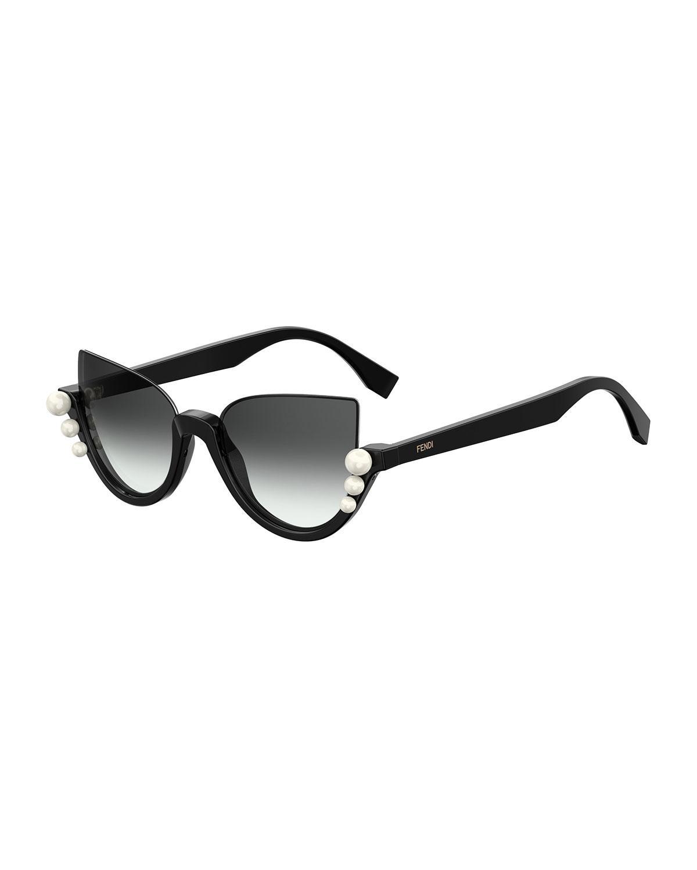 f93e2dd7c3 Fendi - Black Blink Half-rim Pearl Cat-eye Sunglasses - Lyst. View  fullscreen
