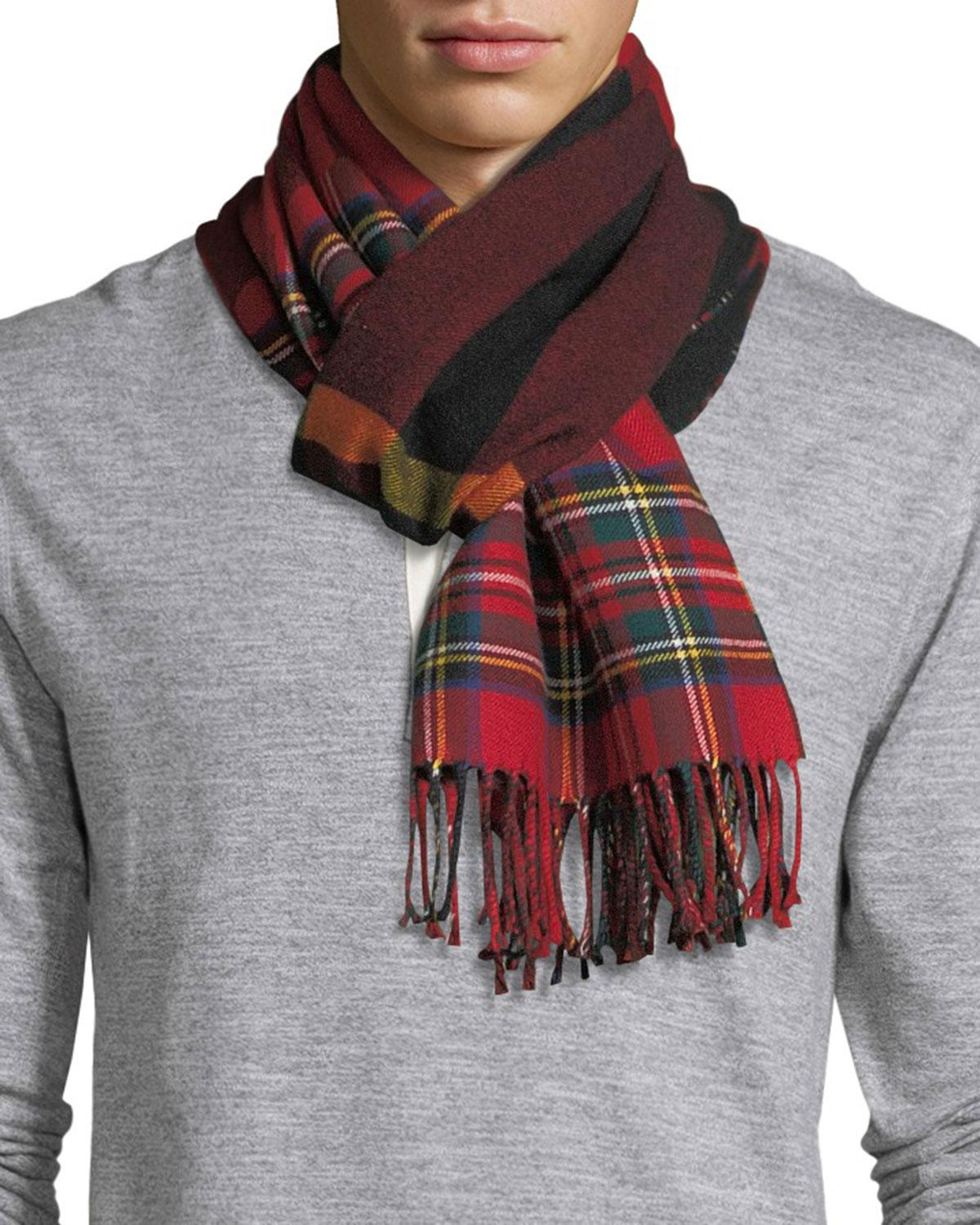 8fbb69dd5c24 Lyst - Burberry Men s Vintage Check To Check Scarf in Red for Men