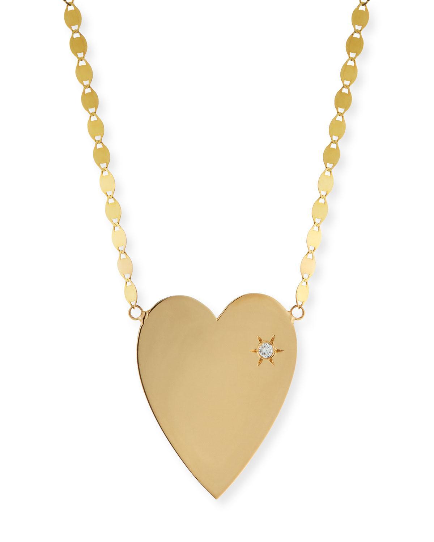 Lana Jewelry 14k Large Pavé Pink Sapphire Heart Pendant Necklace B0id3ZKC