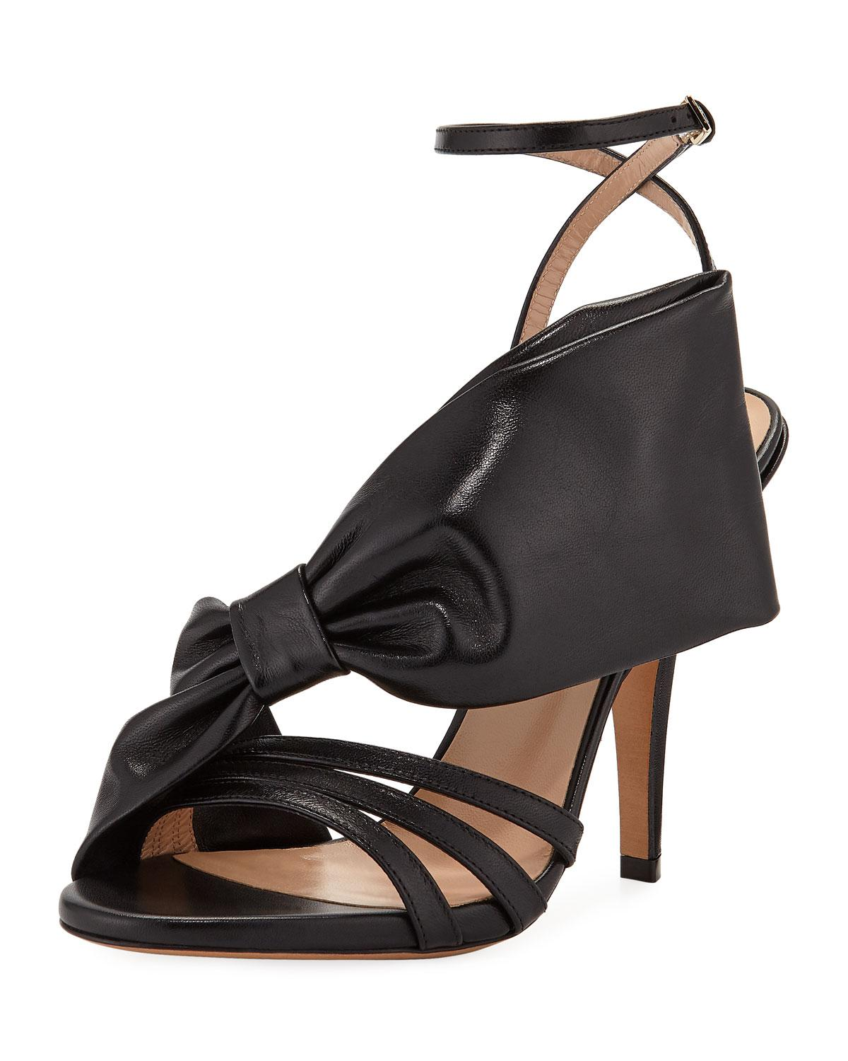 318b6823ba7 Lyst - Valentino Large Bow Leather Sandal in Black