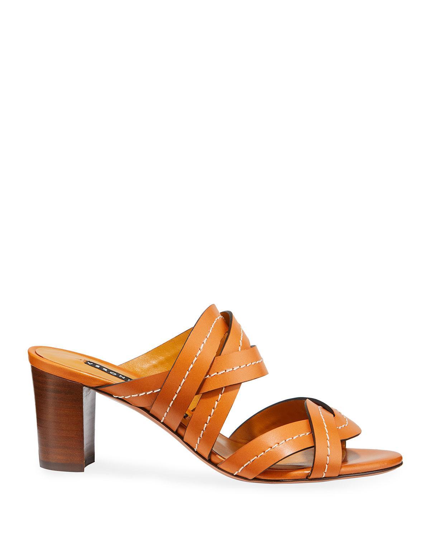 6a84ee5fd Lyst - Veronica Beard Marah Topstitched Block-heel Slide Sandals in Brown