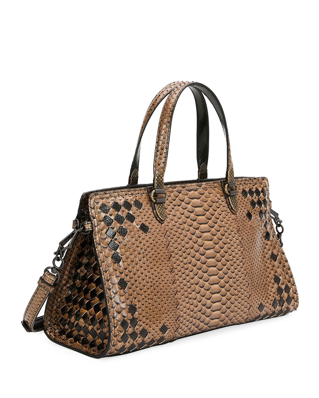 Bottega Veneta Bicolor Python East-west Tote Bag in Brown - Lyst 4516bb98d9d9b