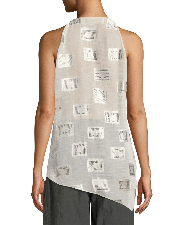 a7db5103e025c Lyst - Urban Zen Draped Block-print Top in White