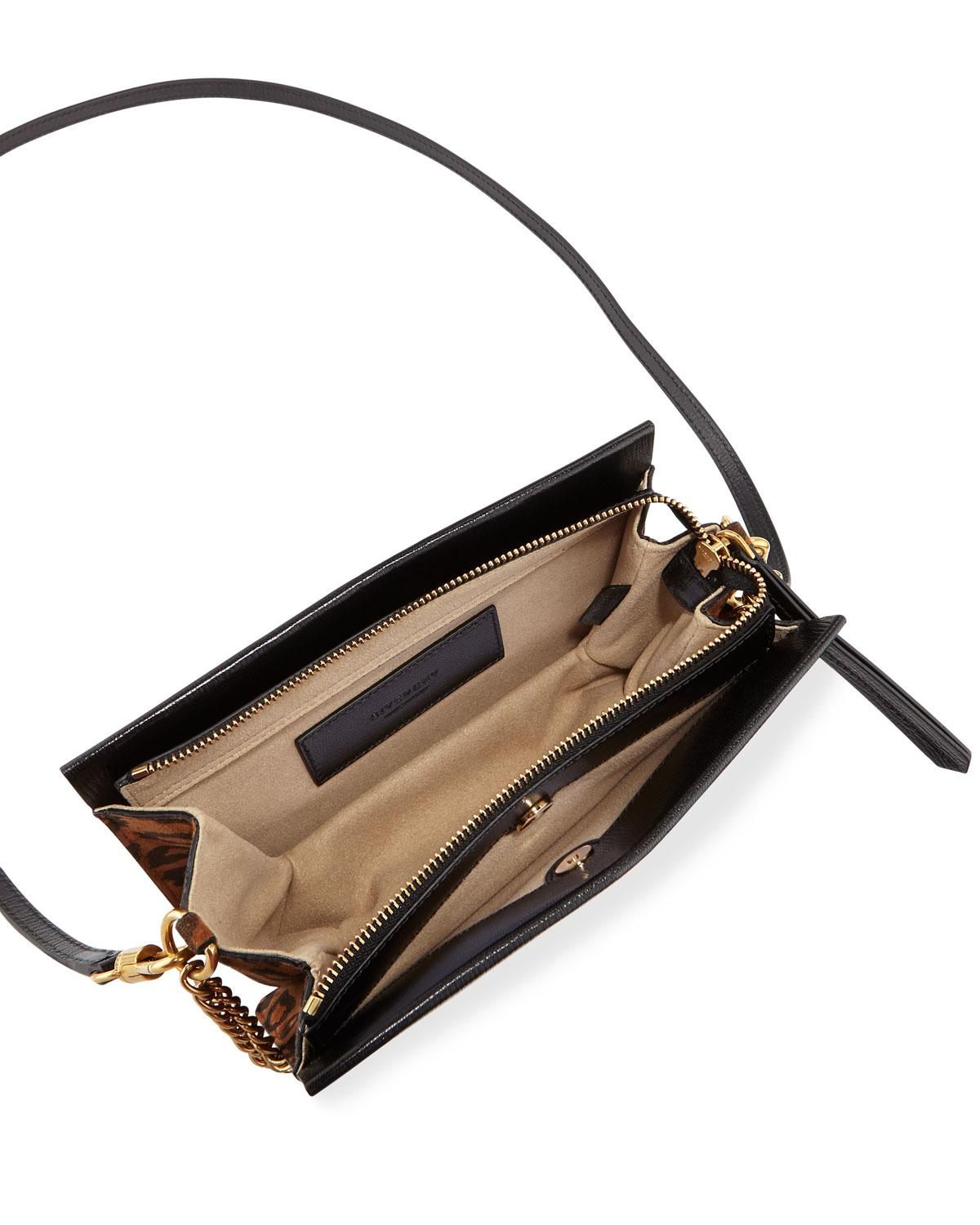 8c6953ff0691 Lyst - Givenchy Cross 3 Leather   Leopard Suede Crossbody Bag in Black