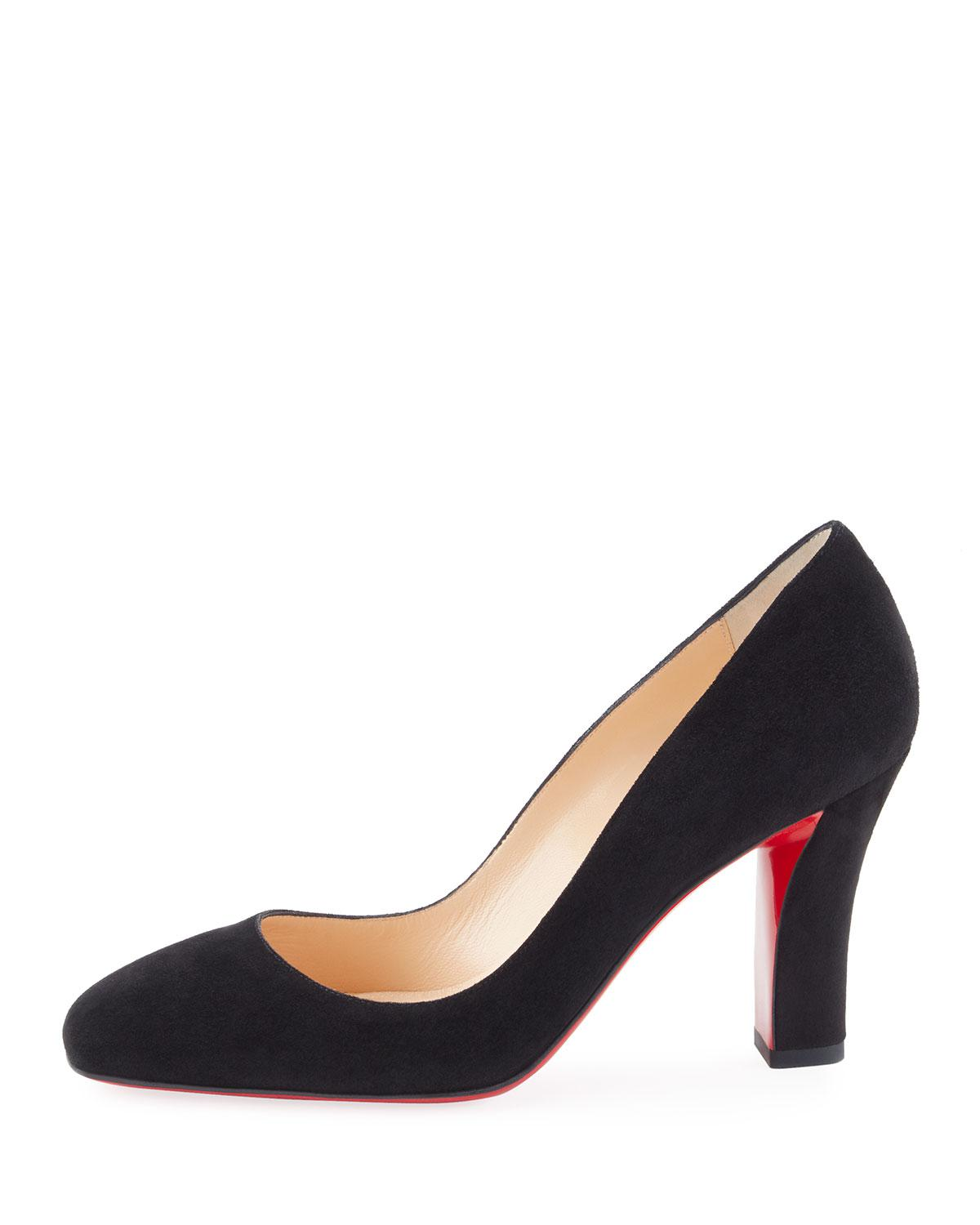 3964aafb85f8 Lyst - Christian Louboutin Viva Suede 85mm Red Sole Pump in Black