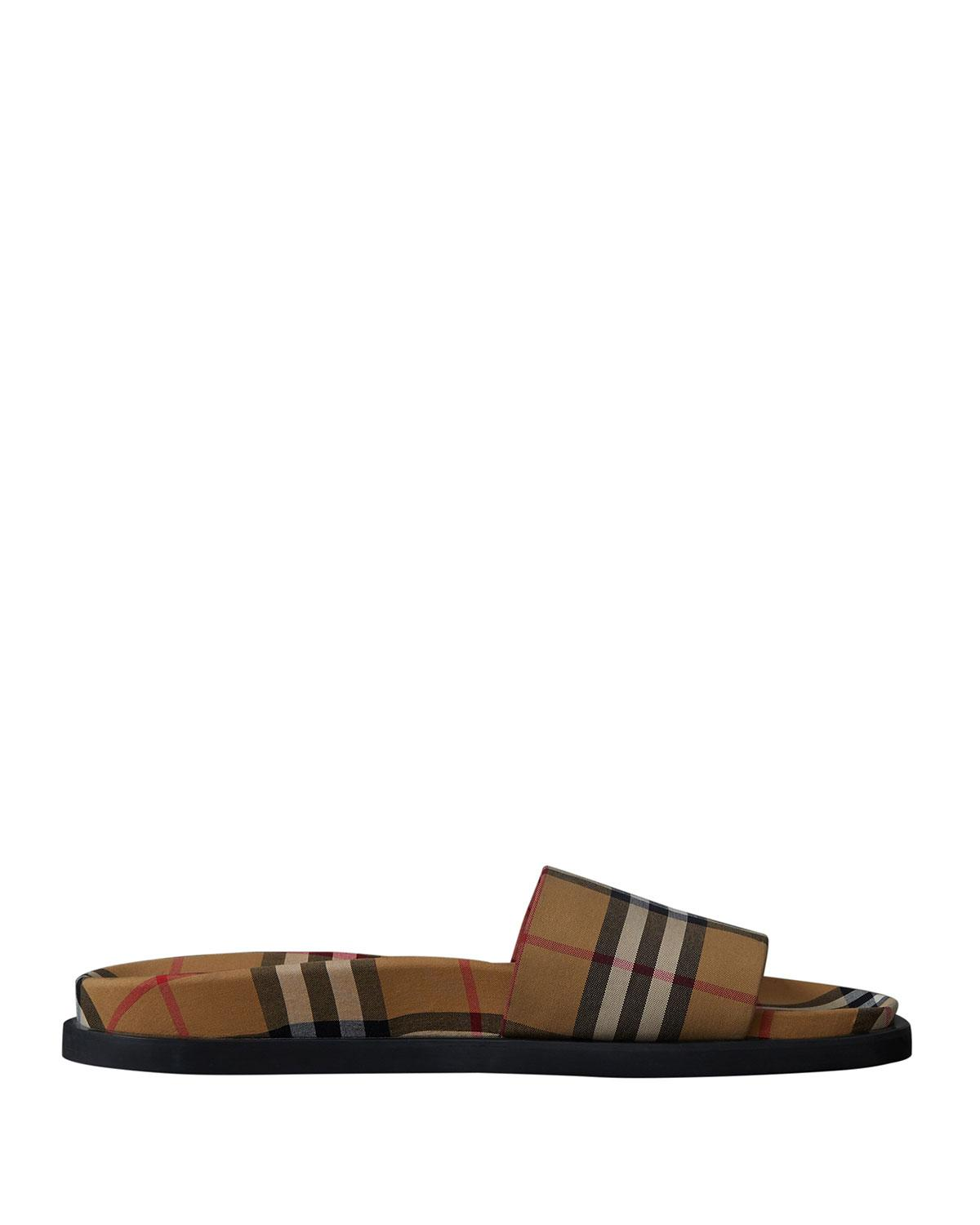 8c4a0218b52727 Lyst - Burberry Men s Ashmore Check Slide Sandal in Yellow for Men