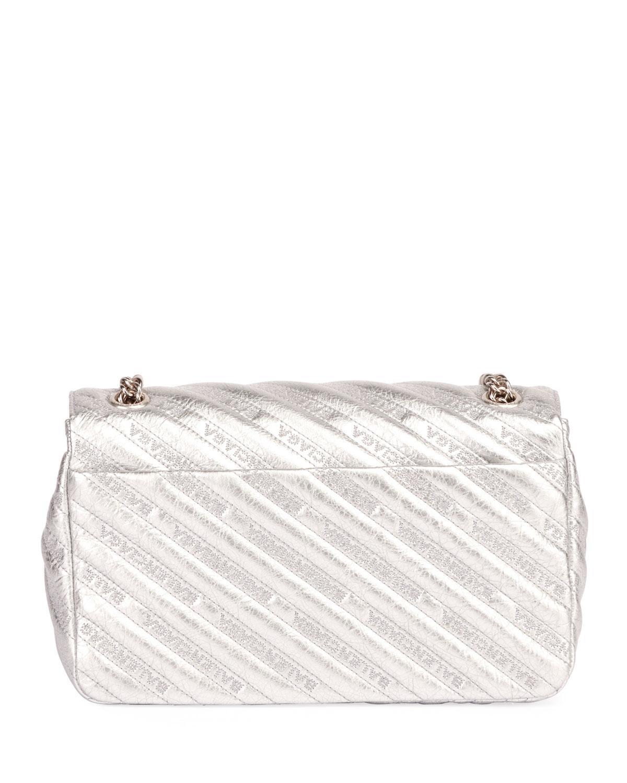 Balenciaga BB Round Medium Metallic Leather Chain Shoulder Bag v5sNj