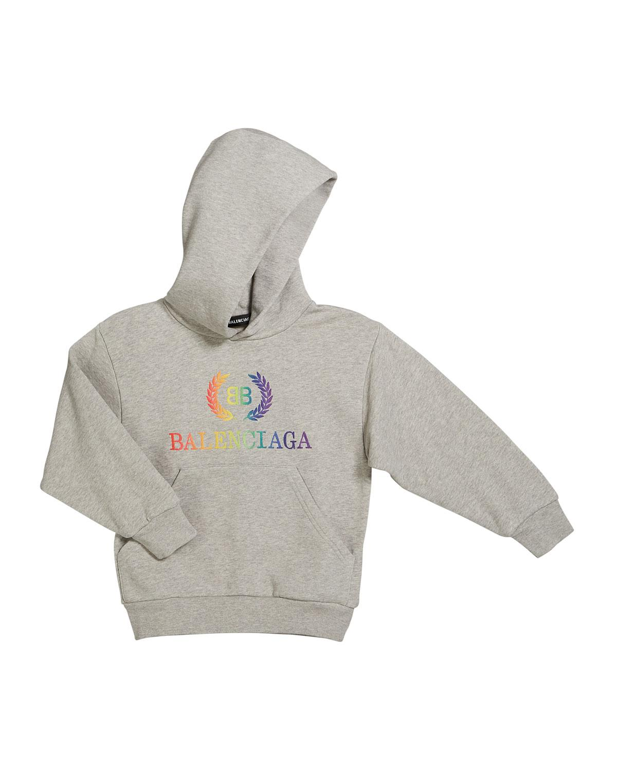 famous brand arriving exclusive deals Balenciaga Cotton Rainbow Logo Crest Hoodie in Gray for Men - Lyst