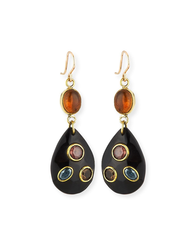 Ashley Pittman Tarabu Linear Dark Horn & Bronze Drop Earrings npUCS5