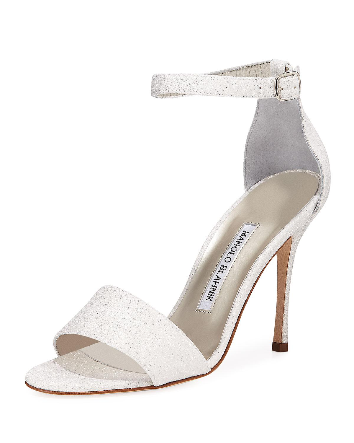 5d61970cc26 Lyst - Manolo Blahnik Tres Glittered D orsay Sandals in White - Save 50%