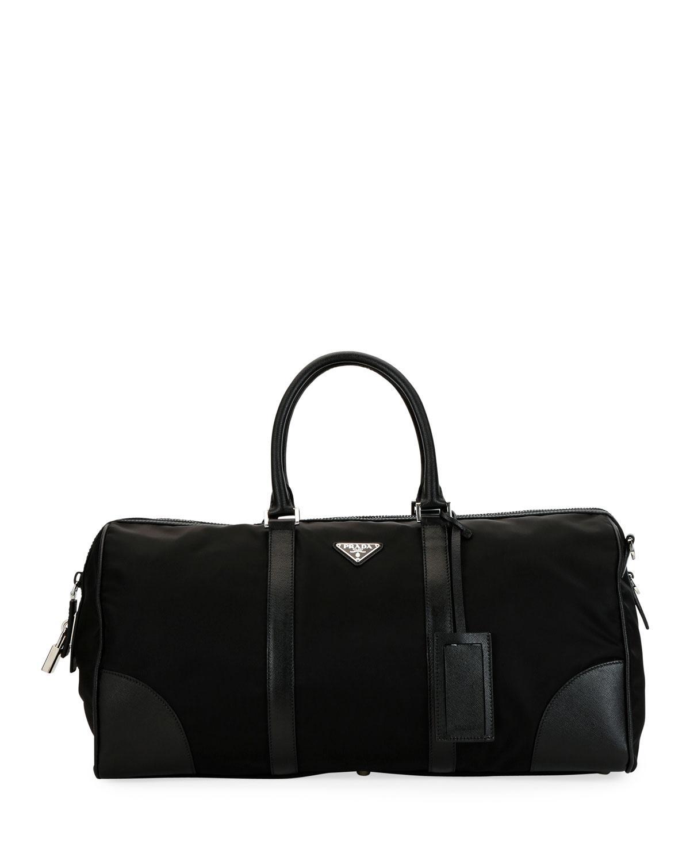 5237bc88a01f Prada Men s Nylon   Saffiano Duffel Bag in Black for Men - Lyst