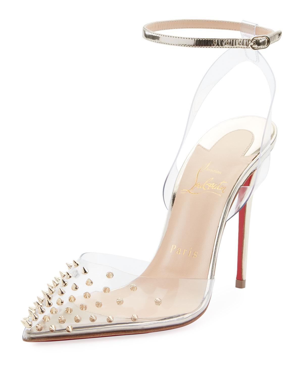 4e4f9d8ca Christian Louboutin Spikoo Spiked Ankle-wrap Red Sole Pumps in ...