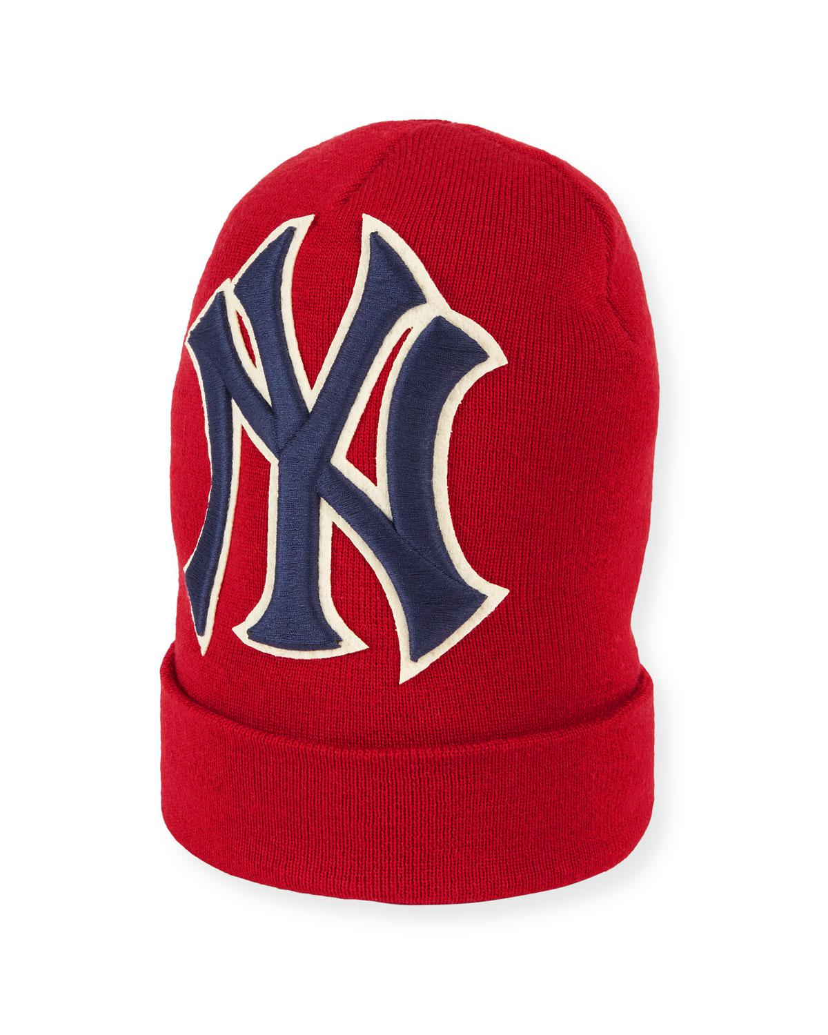 7a09296834f Gucci Men s New York Yankees Mlb Patch Beanie Hat in Red for Men ...