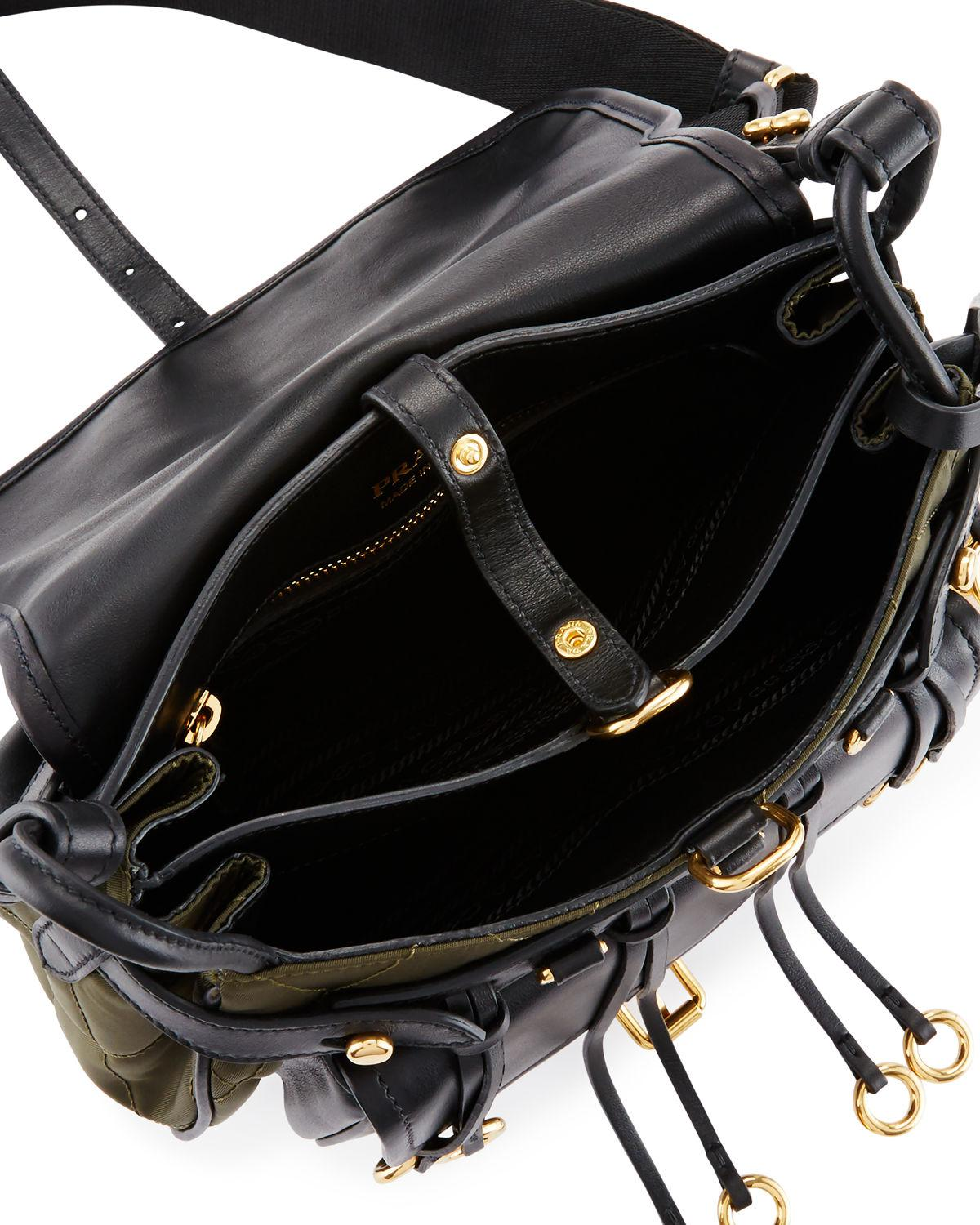 7aa7835b6c1f ... canada lyst prada quilted velvet leather messenger bag in black 08735  6bfaa